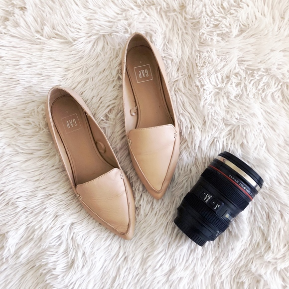 Gap Nude Pink Pointed Leather Loafers